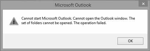 No se puede iniciar Microsoft Office Outlook. No se puede abrir la ventana de Outlook.