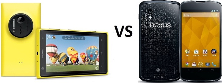 Nokia Lumia 1020 vs Nexus 4