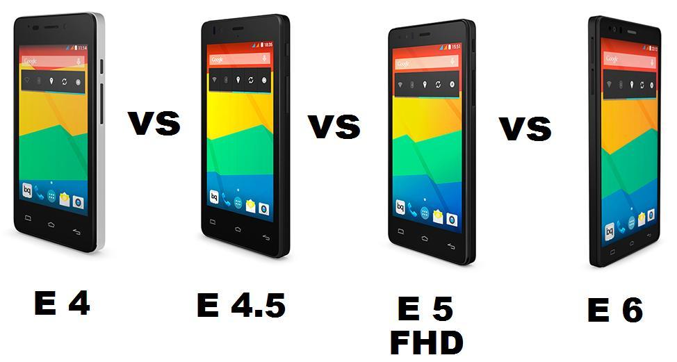 BQ AQUARIS E4 VS E4.5 VS E5 VS E6