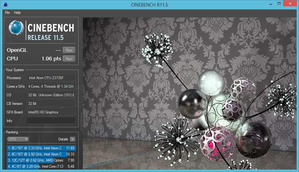 cinebench- X205TA