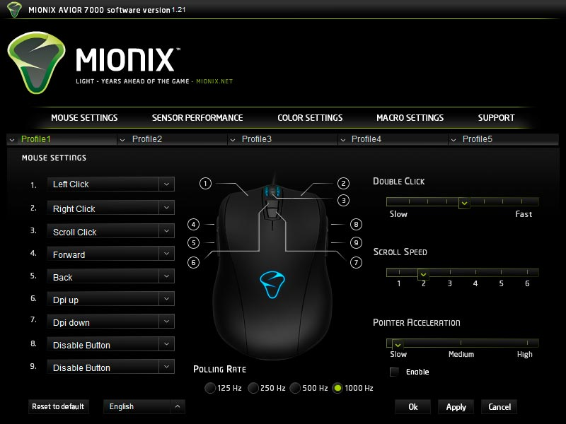 Mionix Avior 7000 software