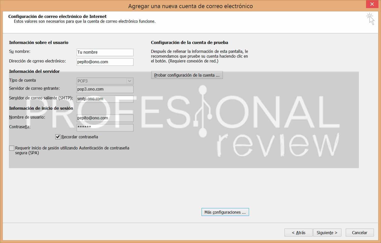 Configurar cuenta de correo ono outlook datos