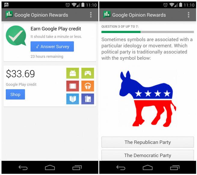 Google Opinion Rewards, gana dinero para Google Play a