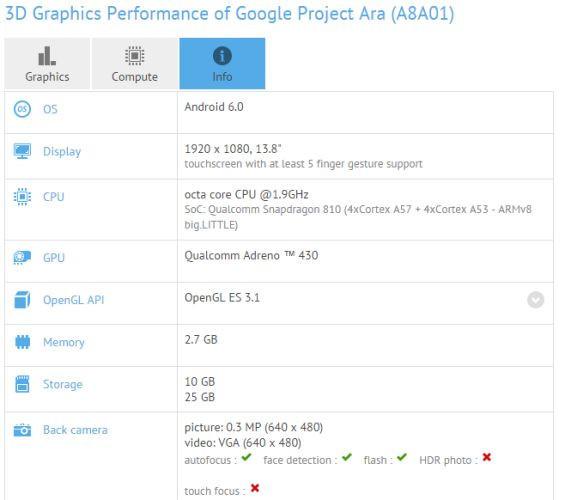 Google Project Ara aparece en GFXBench datos