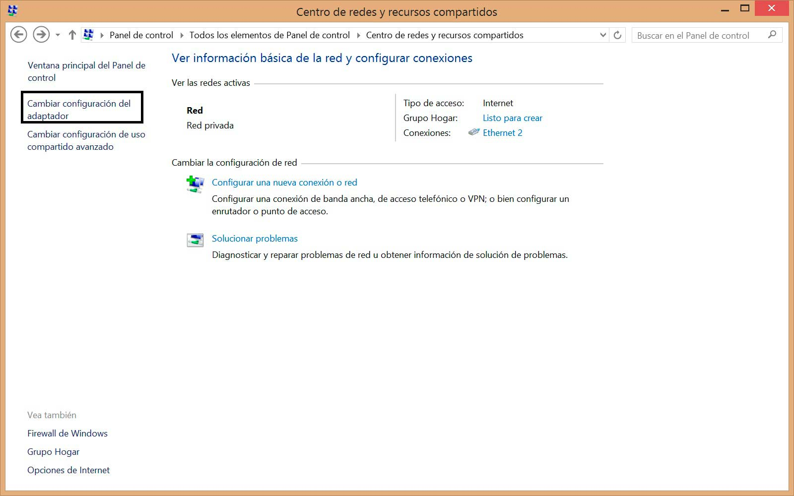 Cambiar DNS en Windows 8 panel de control
