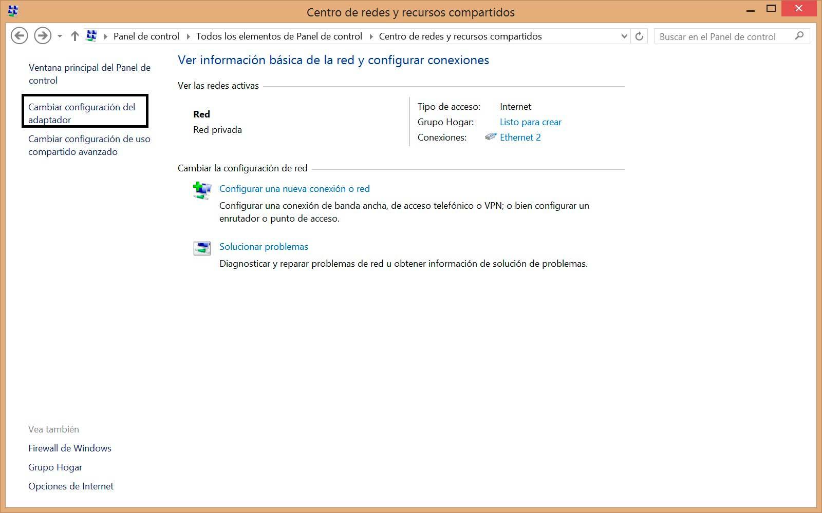 Cambiar DNS en Windows 8 panel de control