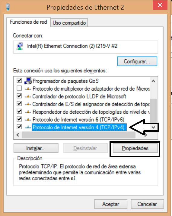 Cambiar DNS en Windows 8 TCP/IPv4