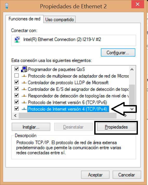 Cambiar DNS en Windows 8 TCP/IPv4
