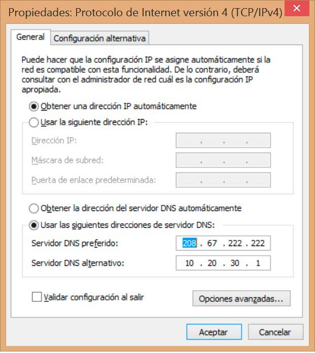 Cambiar DNS en Windows 8