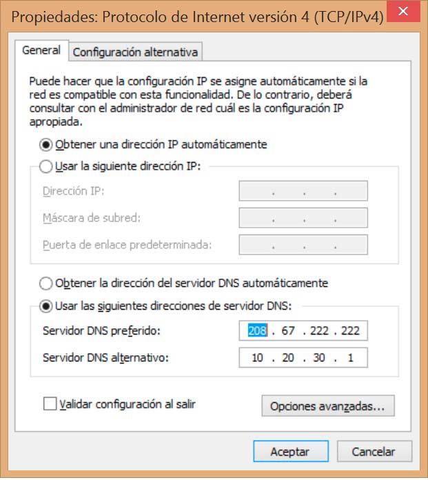 Cambiar DNS en Windows 8