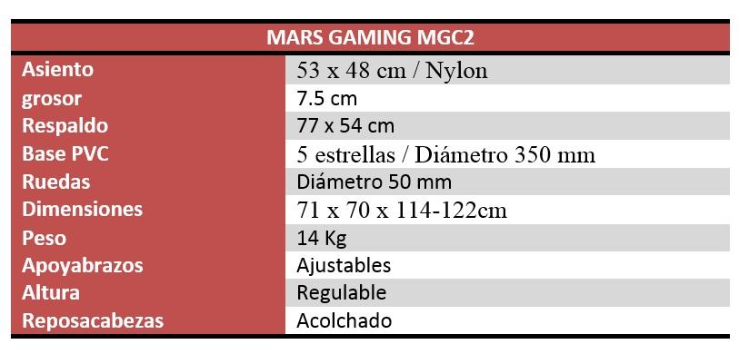 Mars Gaming MGC2 Características