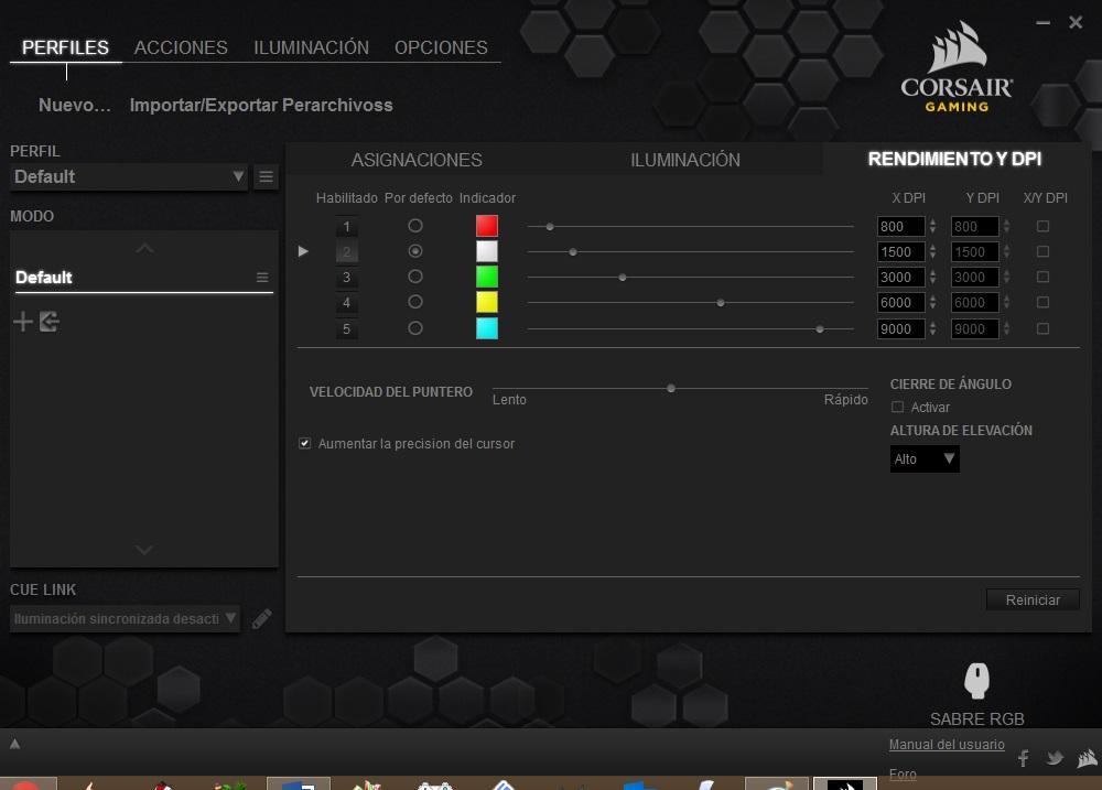 Corsair Sabre RGB software 1