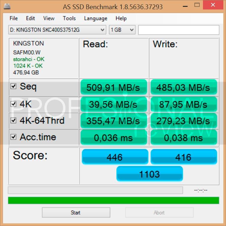 Kingston SSDNow KC400 Atto AS SSD