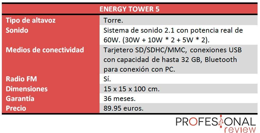 Energy Tower 5 caracteristicas