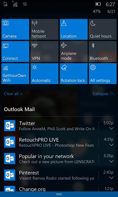 windows 10 mobile centro notificaciones