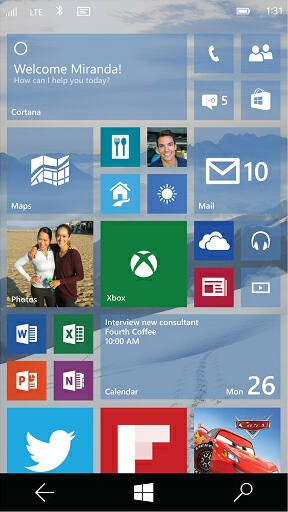 windows 10 mobile pantalla inicio