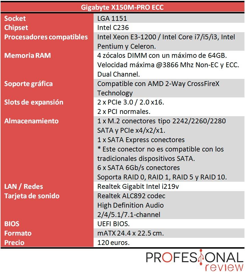 Gigabyte X150M PRO ECC caracteristicas