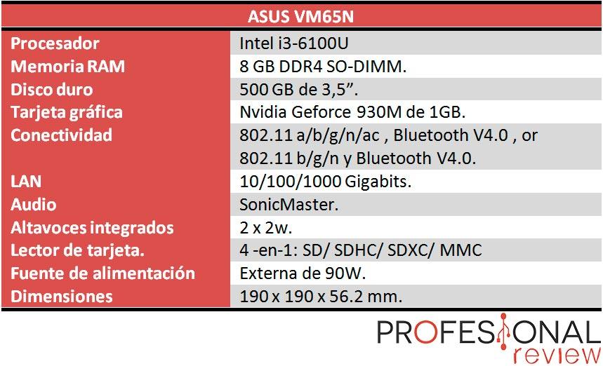Asus VivoMini VM65N caracteristicas