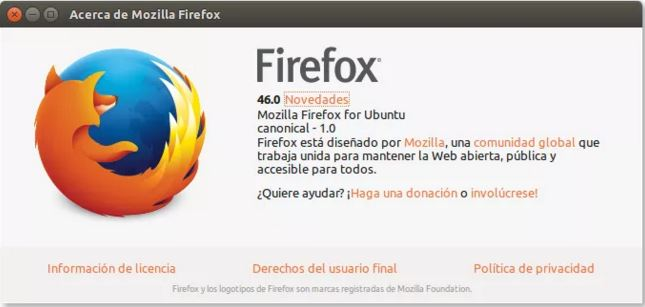 cambios en firefox 46.0 para linux