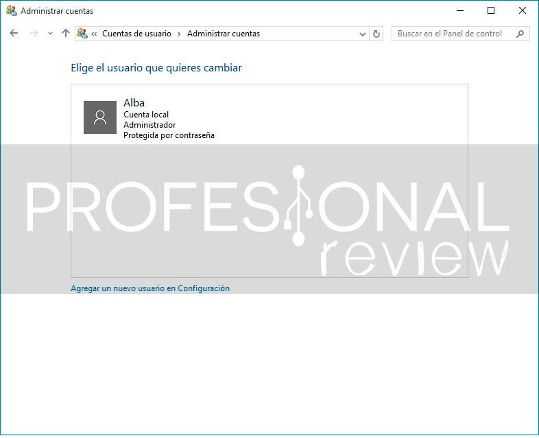 crear cuenta de usuario Local en Windows