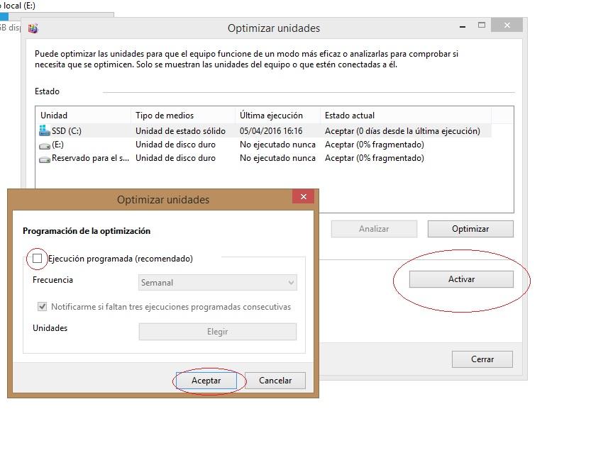 Optimizar SSD en windows 10 desfragmentar