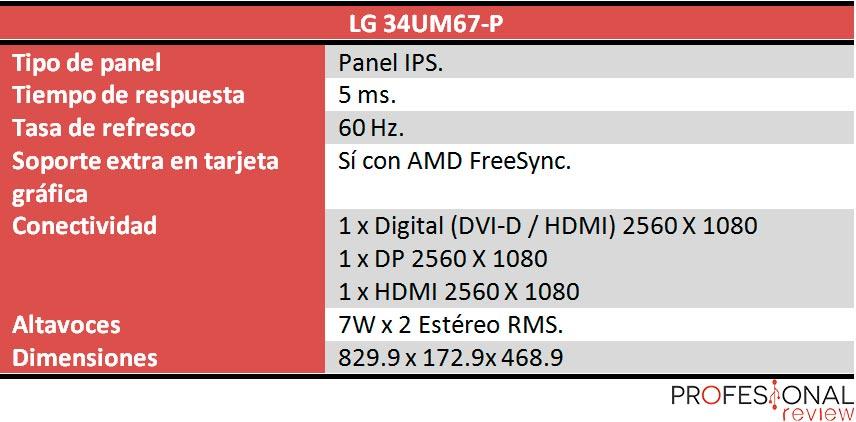 LG 34UM67 caracteristicas