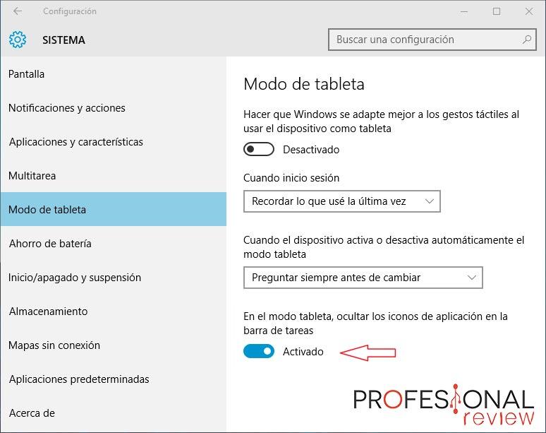 modo tablet de Windows 10