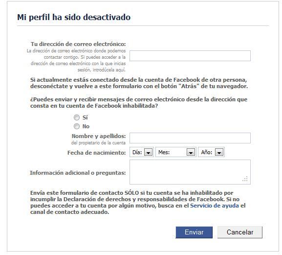 Perfil desactivado en Facebook