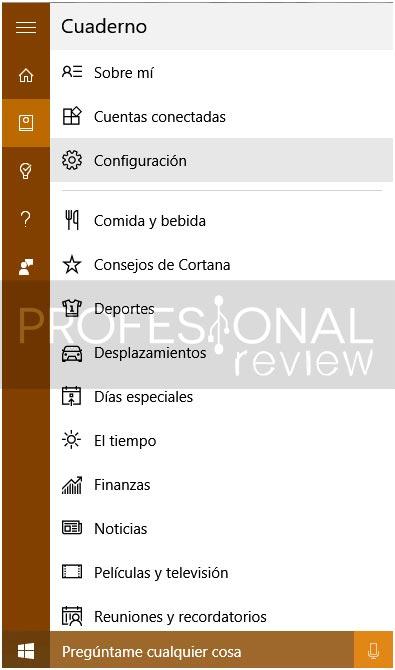 resultados web en Cortana