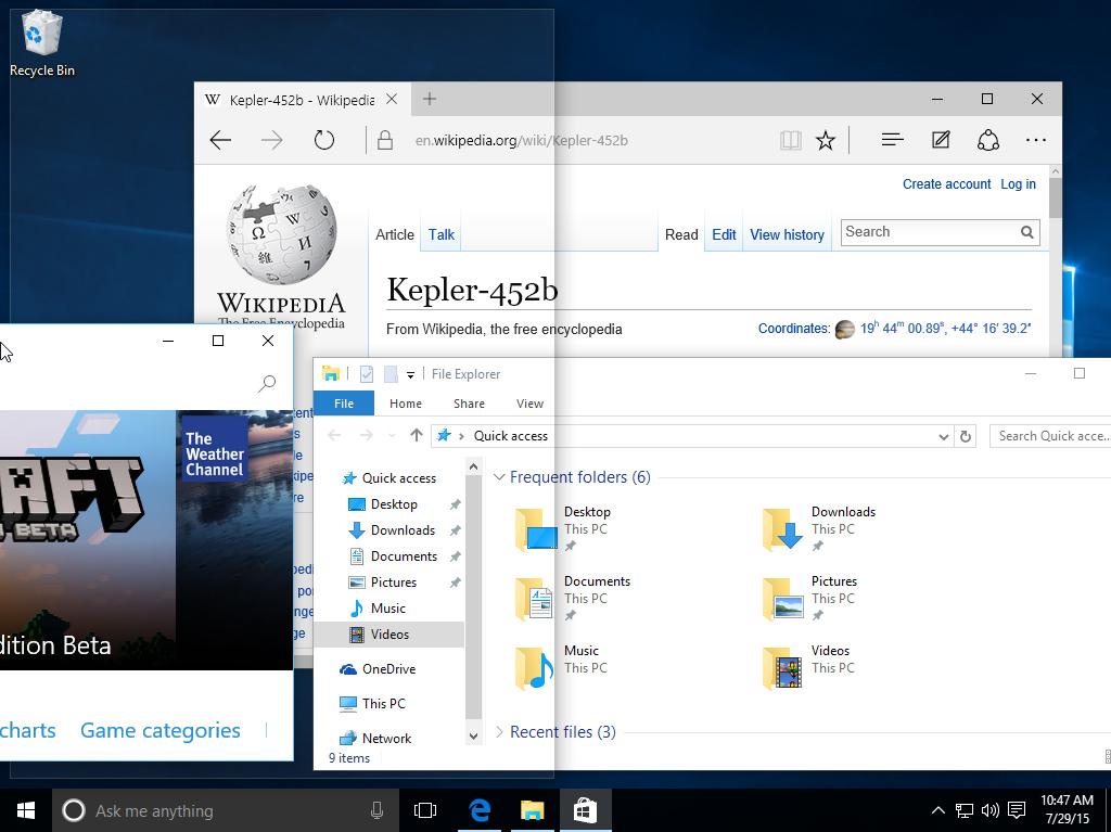 Función Snap / Ajustar en Windows 10