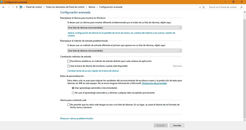 barra de idioma windows 10