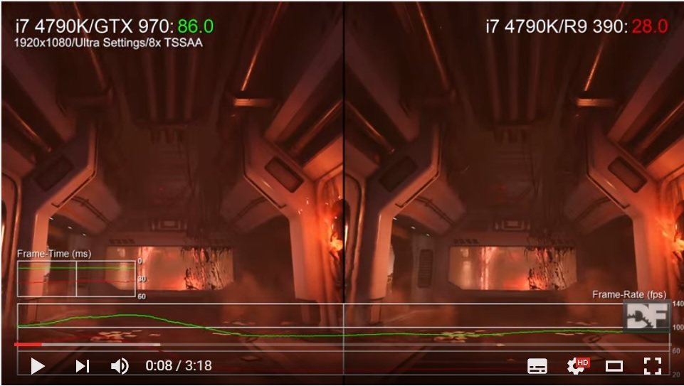 Doom benchmark: GTX 970 vs R9 390