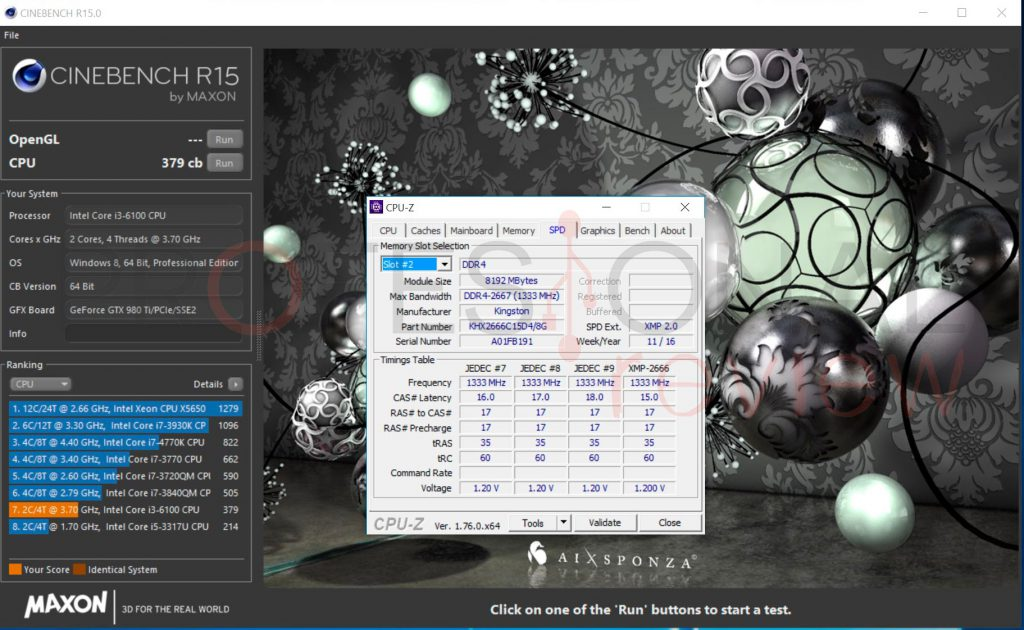 HyperX-Fury-DDR4-benchmark-cinebench