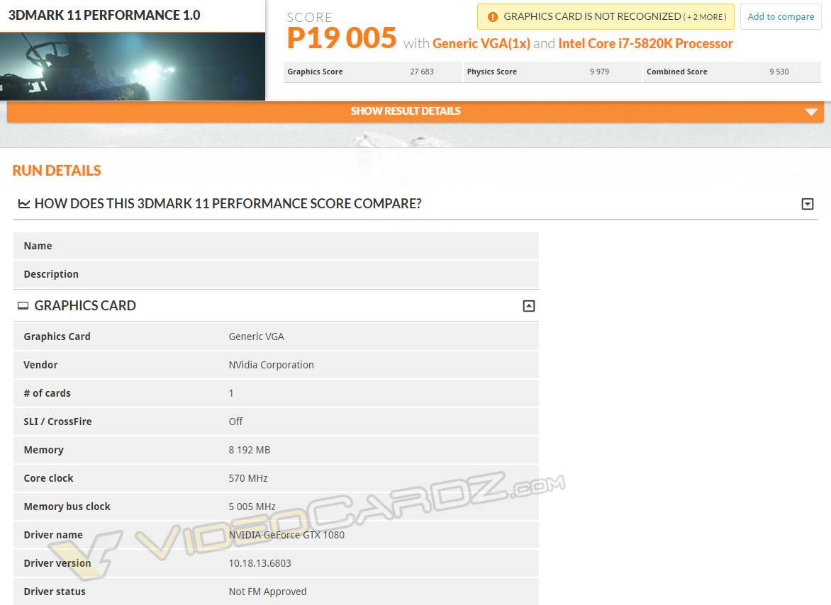 GeForce GTX 1080 primeros benchmarks 3DMark11 Performance