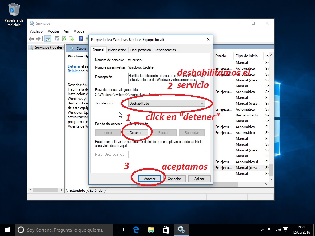 como desactivar windows uptade en windows 10 4