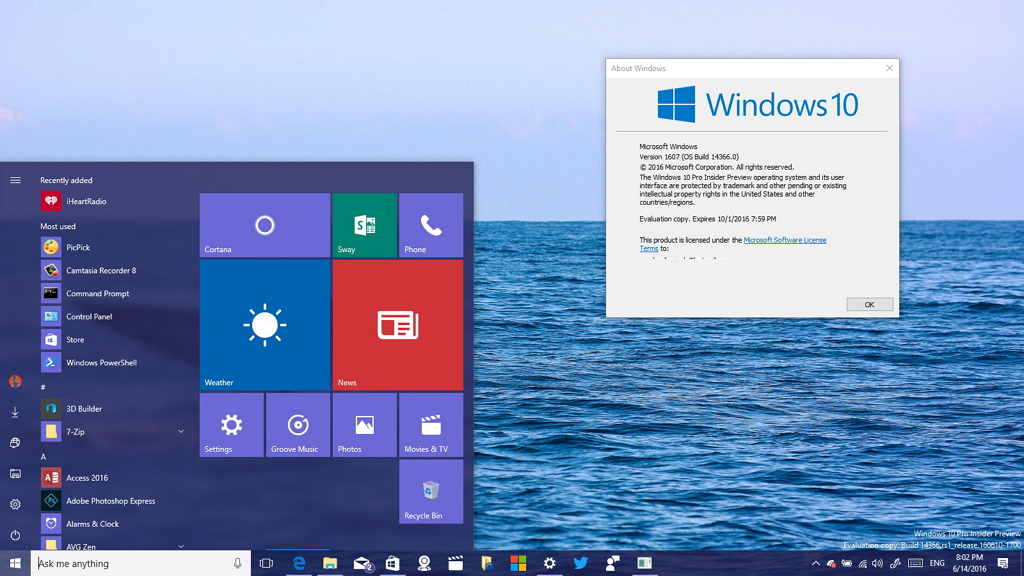 ISO de Windows 10 build 14366 ya están disponibles para su descarga con una cuenta de Microsoft Insider