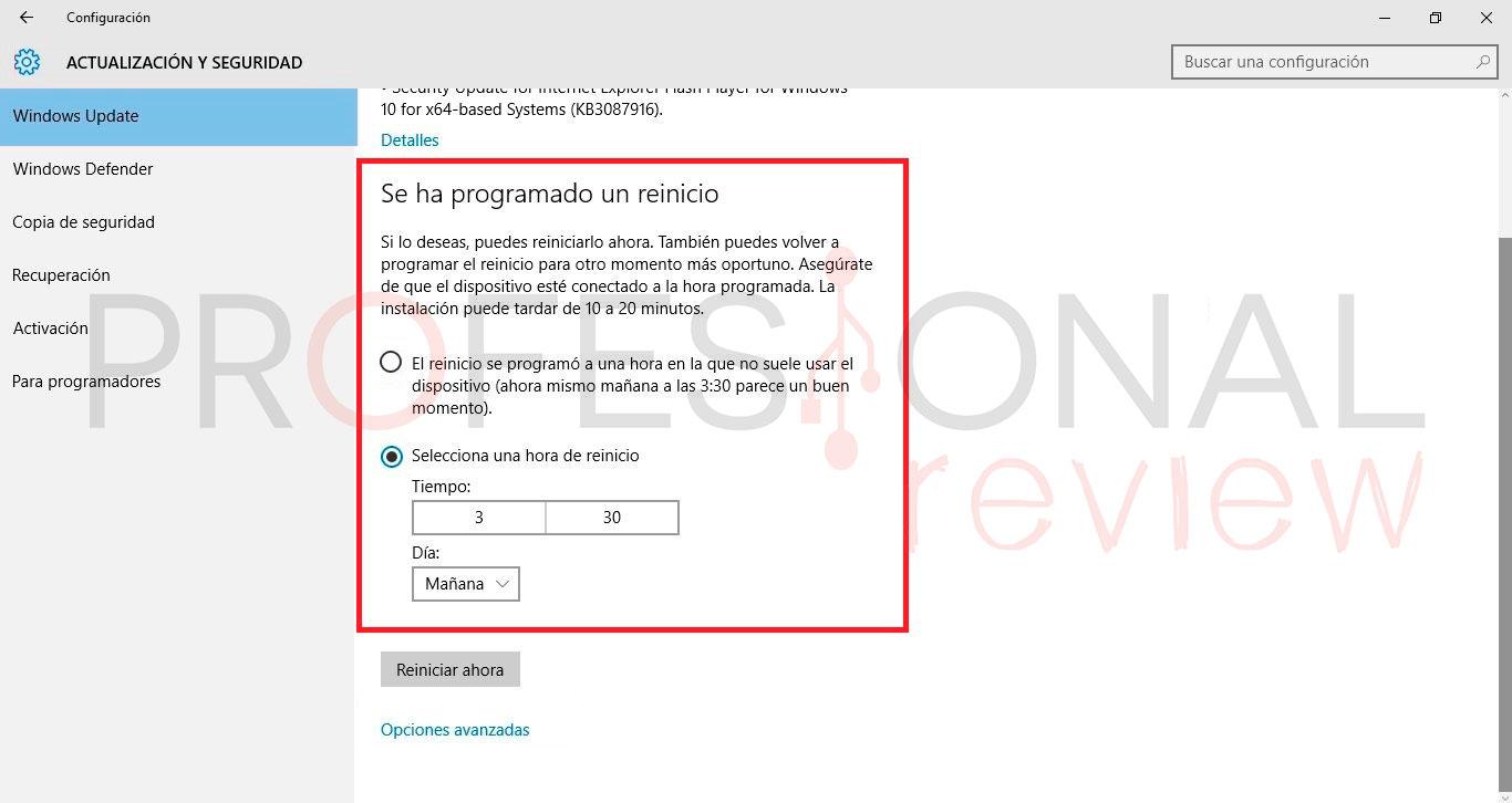 reinicios automáticos en Windows 10