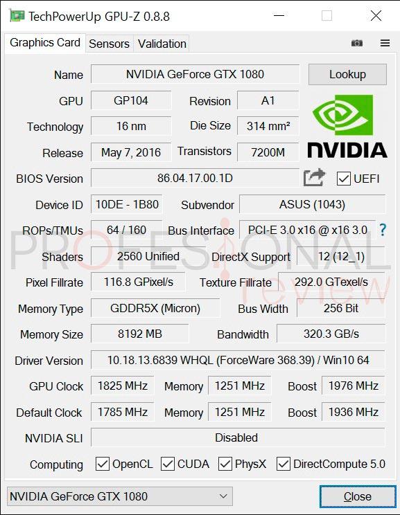Asus GTX 1080 Strix GPUZ