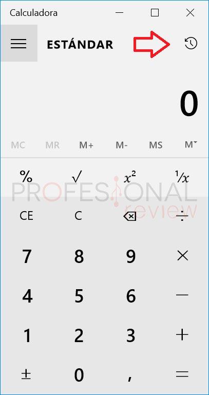 historial calculadora en Windows 10