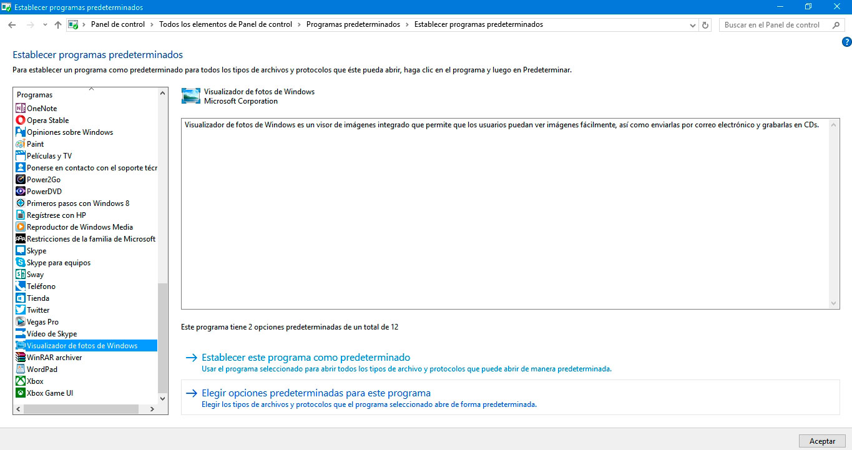 restaurar el antiguo visualizador de fotos en Windows 10