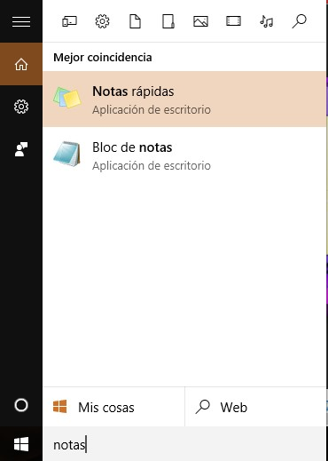notas rápidas windows 10
