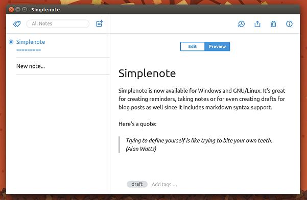 Notas en Ubuntu - Simplenote