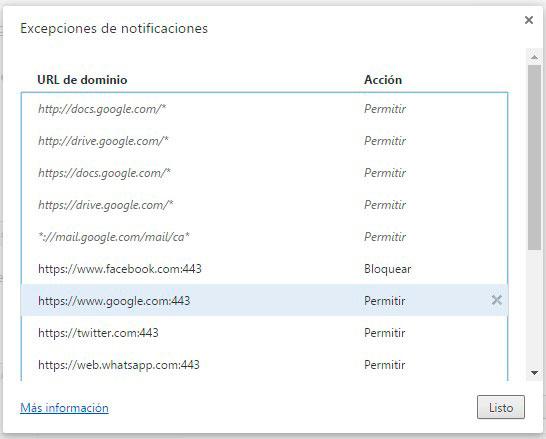 desactivar notificaciones web google chrome