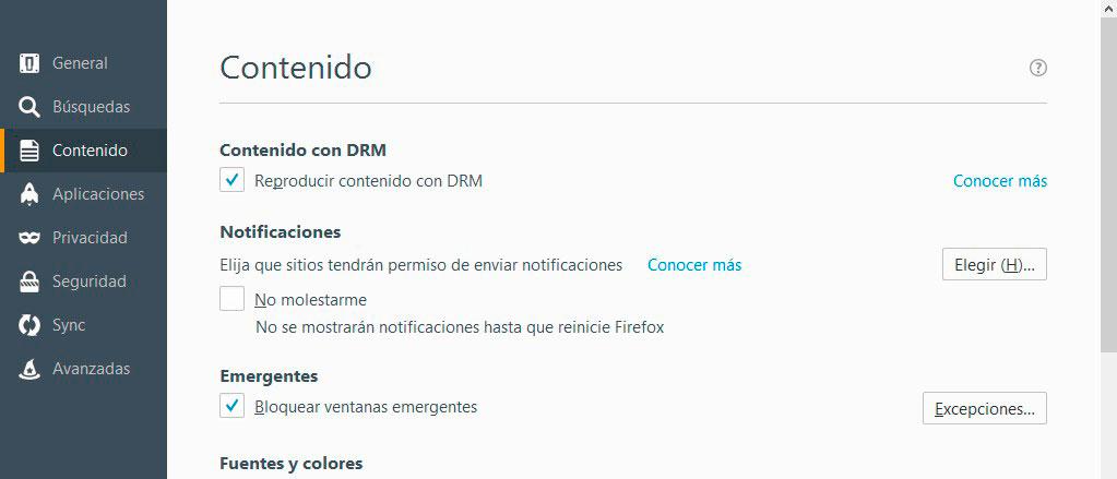 desactivar notificaciones web mozilla