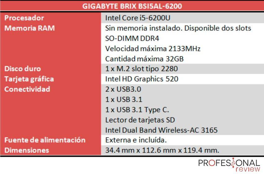 Gigabyte Brix BSi5AL-6200 caracteristicas