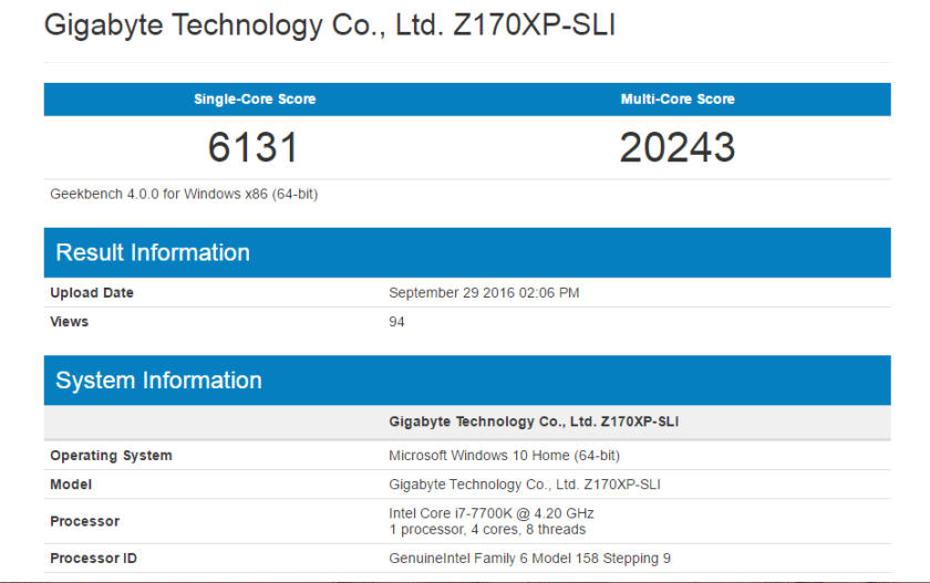 intel core i7 7700k geekbench