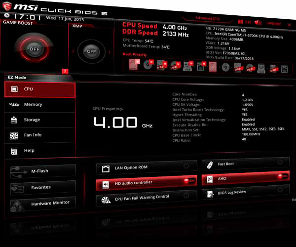 MSI Z170A MPOWER Gaming Titanium bios