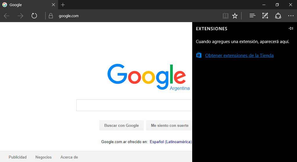 Microsoft Edge extensiones