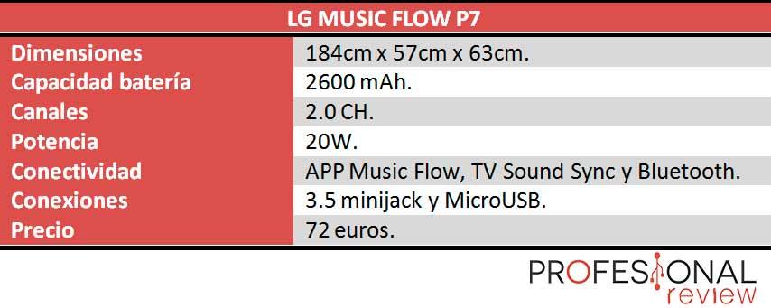 LG Music Flow P7 caracteristicas