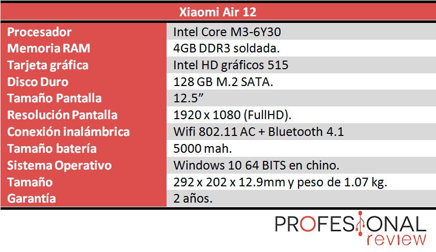 Xiaomi Air 12 caracteristicas